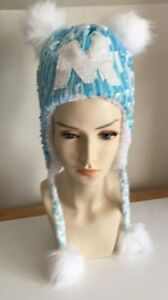 Justice Blue Sequin Hat With Pom Pom Tie Closure