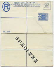 1926 Leeward Islands KGV 3d blue registered postal stationery env SPECIMEN