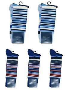 Cole Haan 5-Pairs Town Striped Pattern Men's Crew Socks One Size NWT Multicolor