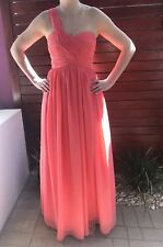 Coral Formal Prom Cocktail Evening Bridesmaid Wedding Dress Gown Size 8