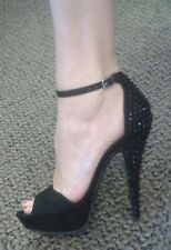 JustFab Black Suede like Platform Ankle Strap Black Crystal Stone Heels Sz 8