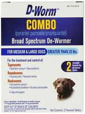 D-Worm 2 Count Combo Broad Spectrum De-Wormer for Med and Large Dogs over 25#