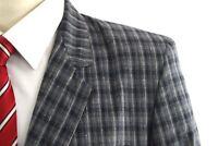 CHAL VAR Men's Gray Plaid Cotton 1-Btn Surgeon Cuff Sport Coat ~ 40R US / 50 EUR