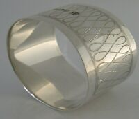 MODERNIST SOLID STERLING SILVER OVAL NAPKIN RING 1973 ENGLISH