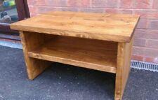 Rustic Custom Dark Oak Country Solid Wood Side Table Living room Scaffold style