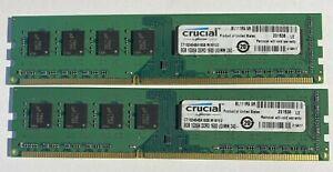 16GB (2 x 8GB) PC3-12800 DDR3-1600 Desktop Memory Ram Crucial CT102464BA160B