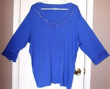 Denim & Co. Blue Embroidered Tunic with Sequin Accents Size 2X