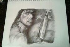 Original 11x14 Rambo/Sylvester Stallone pencil drawing done by artist ARTuro