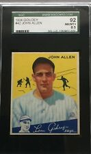 High-Grade 1934 Goudey SGC 8.5 John Allen #42 New York Yankees. Beautiful card!!