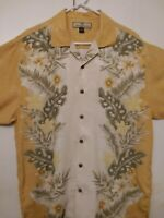 Tommy Bahama Shirt Men  M  Hawaiian Yellow Tropical Copyrighted  Print 🌴Silk