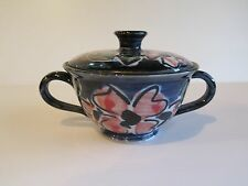 COLOURFUL POTTERY DOUBLE HANDLED SUGAR BOWL FROM PUTARURU NEW ZEALAND