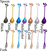 Small Branches Leaf Coffee Spoon Stainless Steel Dinnerware Cutlery Fruit Fork A