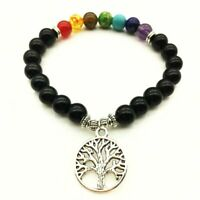 Women's Natural 7 Chakra Gemstone Stretch Bracelet Tree Of Life Yoga Healing
