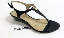 MK Michael Kors Hamilton Thong Low Wedge Patent Leather Buckle Up Sandals Black