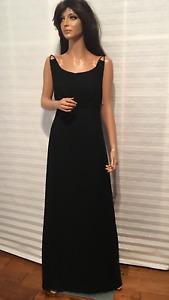 Auth. DOLCE& GABBANA Black Long Crape Gown Dress sz 8-10?