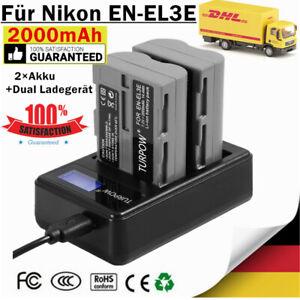 2× EN-EL3E Akku +Dual Ladegerät für Nikon D50, D70s D80 D90 D200 D300 D300S D700