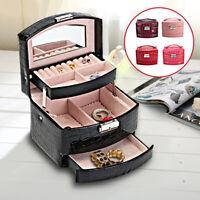 3 Layer Leather Jewellery Box Girls Rings Storage Organiser Display Holder Case
