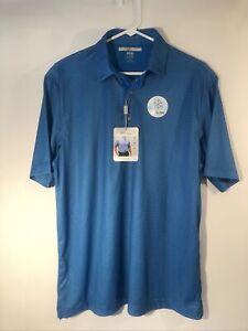 Greg Norman ML75 Men's Play Dry Cooling Fabric Blue Golf Shirt  * Large
