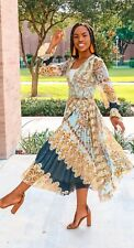 H&M Trend Patterned Pleated Midi Wrap Kimono Midi Maxi Dress 6 8 BNWT