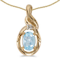 14k Yellow Gold Oval Aquamarine and Diamond Pendant (no chain) (CM-P1241X-03)