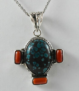 925 Sterling Fine Silver Handmade Pendant Natural Turquoise & Coral Gift FSP2536