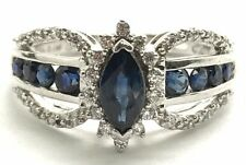Sterling Silver 925 Blue Sapphire Pave CZ Burst Halo Elegant Swirl Cocktail Ring