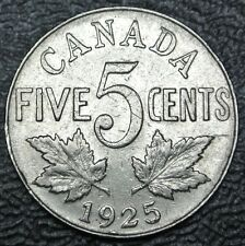 OLD CANADIAN COIN 1925 - 5 CENTS - KEY DATE - George V - Nice DETAILS