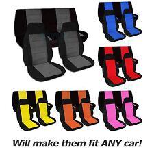 Two-Tone Car Seat Covers (Full Set, Semi-custom) Black & Red/Yellow/Orange/Blue+