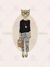 PITTURA DISEGNO FASHION Animali Leopardo Leggings art print poster MP3750A