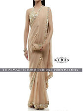 Beige Georgette Sequence Lace Border Designer Party Wear Festive Saree KT3048