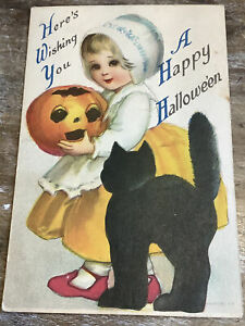 Vintage Halloween Postcard Wolf & Co. Black Cat Girl JOL Ellen Clapsaddle?