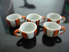 5x12 mm Painted Orange Strip Coffee Cup Dollhouse Miniatures Ceramic