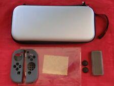 7 tlg. Zubehör für Nintendo Switch SILBER:Tasche Case Displayfolie Spielehülle