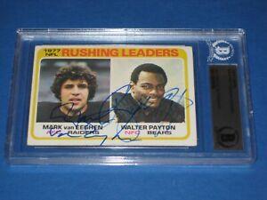 WALTER PAYTON, MARK van EEGHEN Signed 1978 TOPPS Card #333 Beckett Authenticated