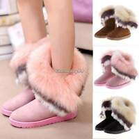 Fashion Womens Suede Faux Fur Warm Winter Mid Calf Snow Boots Low Ankle Boots