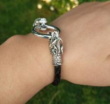 Norse Viking Wolf Head Braided Bracelet 24cms