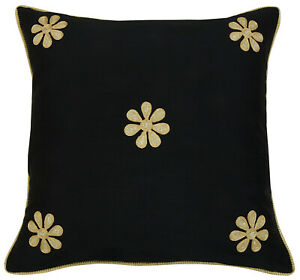 S4Sassy Black Floral Embroidered Pillow Cover Indian Poly Dupion-dr6