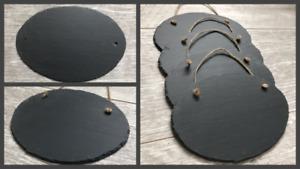 Handmade slate oval chalkboard blackboard message board memo door plaque bulk