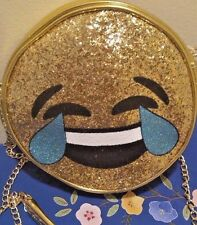 Emoji GOLD Glitter Laughing Crossbody, Shoulder Purse Bag Olivia Miller  NEW