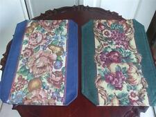 """2 Tapestry Fabric Placemats Burgundy Mauve Fruits Floral Design 18"""" x 13"""" New"""
