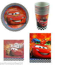DISNEY CARS PARTY SUPPLIES PACK OF 40, 8 PLATES, 8 CUPS, 16 NAPKINS, 8 LOOTBAGS