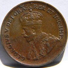 CANADA, George V: 1935 bronze Small Cent with lamination error; brown AU