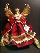 Angel Christmas Tree Topper - Red W/Gold and White Trim and Sequins - Gold Wings