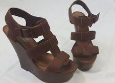 Steve Madden Wanting Brown Leather Platform Wedge Strappy Sandals Heels Size 8.5