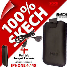 Skech Funda Lengüeta Funda De Cuero Original iPhone 4 4s + Carga USB Cable