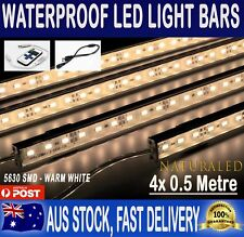 4x Cool White 5630 LED Strip Lights Waterproof Bars Camping Boat Car 12v Remote