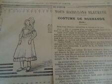 "PATRON ORIGINAL  POUPEE "" BLEUETTE ""COSTUME DE NORMANDE N° 20/27 JUIN 1918"