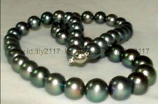 AAA RARE 10-11MM TAHITIAN NATURAL BLACK PEARL NECKLACE 18""