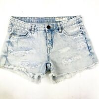 BLANK NYC Women's Hiker Light Acid Wash Destroyed Ripped Denim Jean Shorts Sz 26