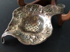 Art Nouveau Daniel Low Sterling Silver Tea Strainer 1927 Leaf Floral Fairy